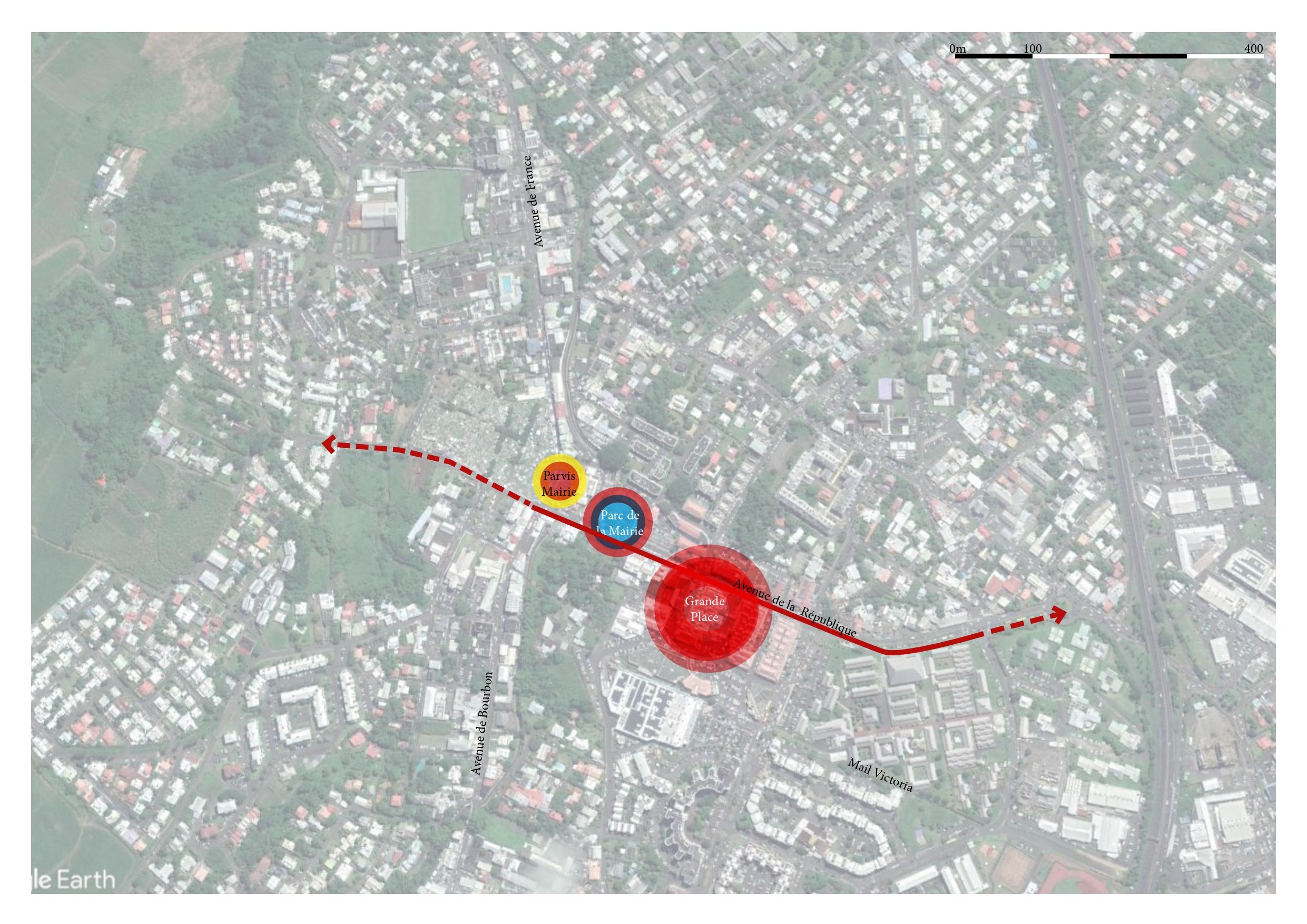 Plan des aménagements de la ville de Saint-André