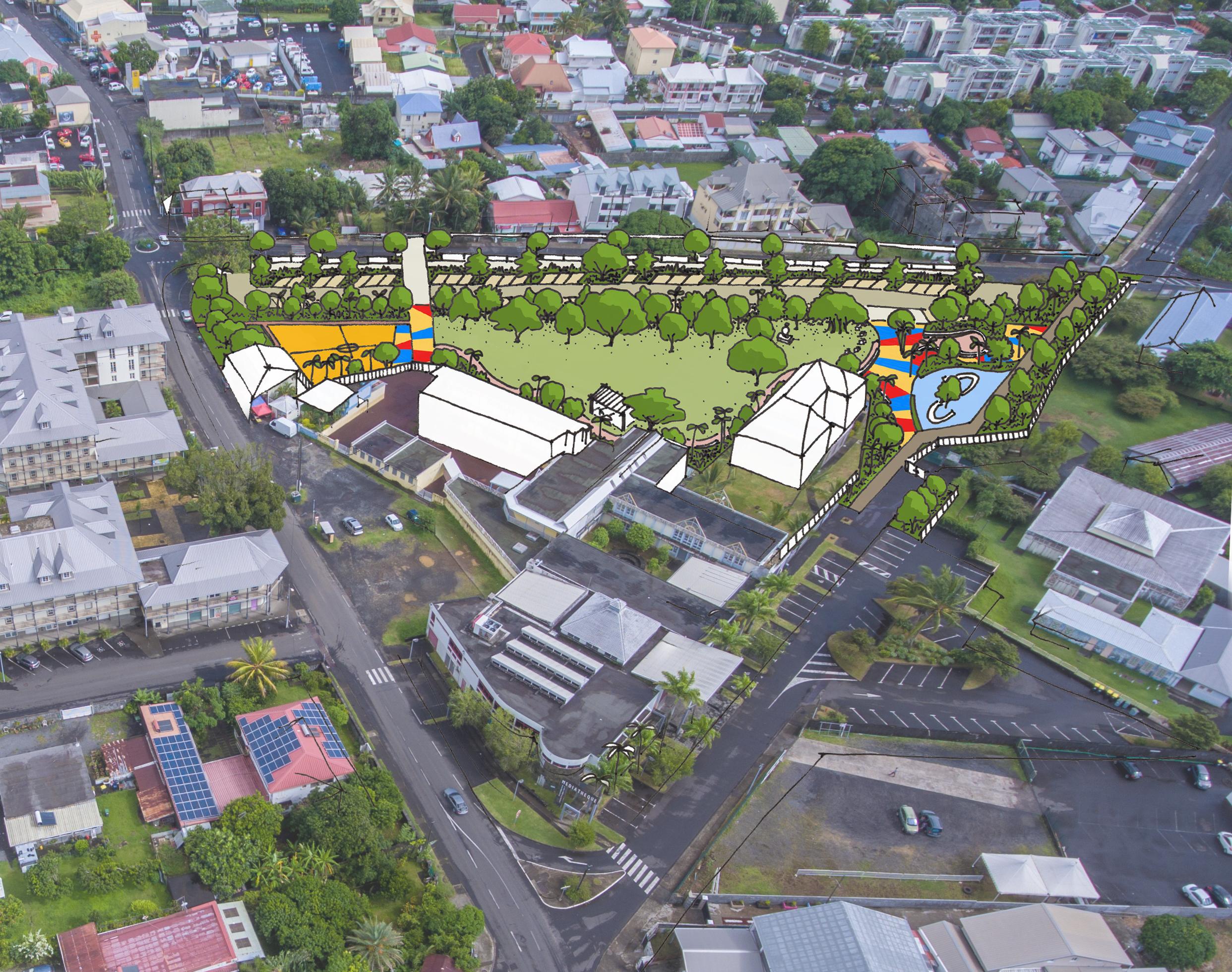 Photo aérienne du Parc Lacaussade à Saint-André